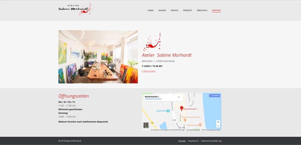 Website Atelier Morhardt-Kontaktseite