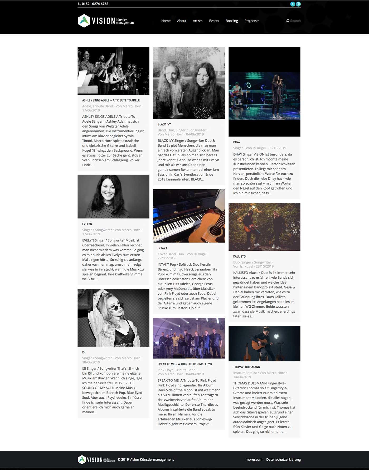 Vision-Kuenstlermanagement Website-Artists